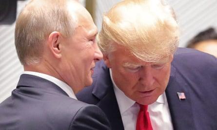 Vladimir Putin and Donald Trump share a moment in Vietnam.
