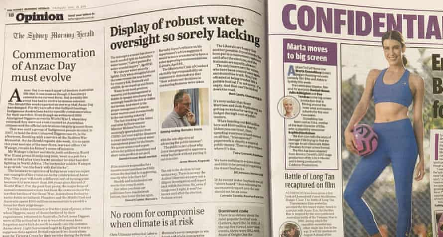 The SMH opinion page opposite Confidential