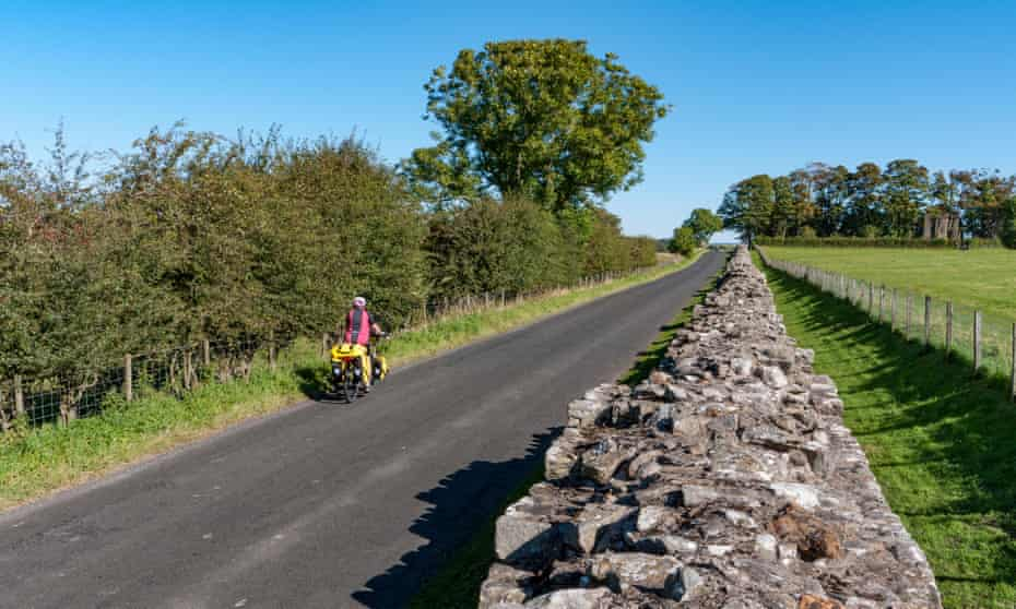 Cyclist on Hadrian's Wall route, UK.