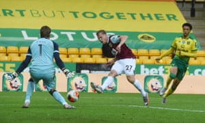 Matej Vydra of Burnley is thwarted by Norwich keeper Tim Krul.