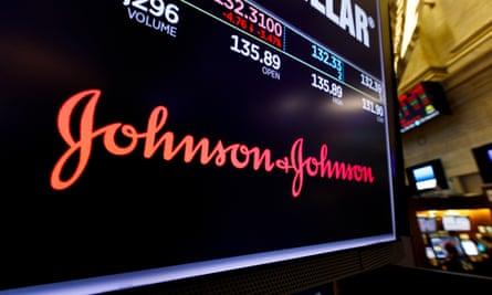 Johnson & Johnson logo on a shares screen