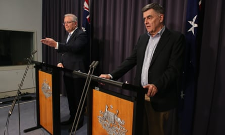 Prime minister Scott Morrison and the chief medical officer, Brendan Murphy, at a press conference in Parliament House Canberra, 22 March 2020.