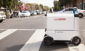 A Yelp Eat24 delivery robot. Pedestrians have tired of sharing the sidewalk with machines in San Francisco.
