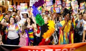 Elixabeth Warren marches in the LGBTQ parade in Las Vegas last week