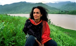 Arundhati Roy at the time of her protests against the building of the Sardar Sarovar Dam in the Narmada Valley in 1999.