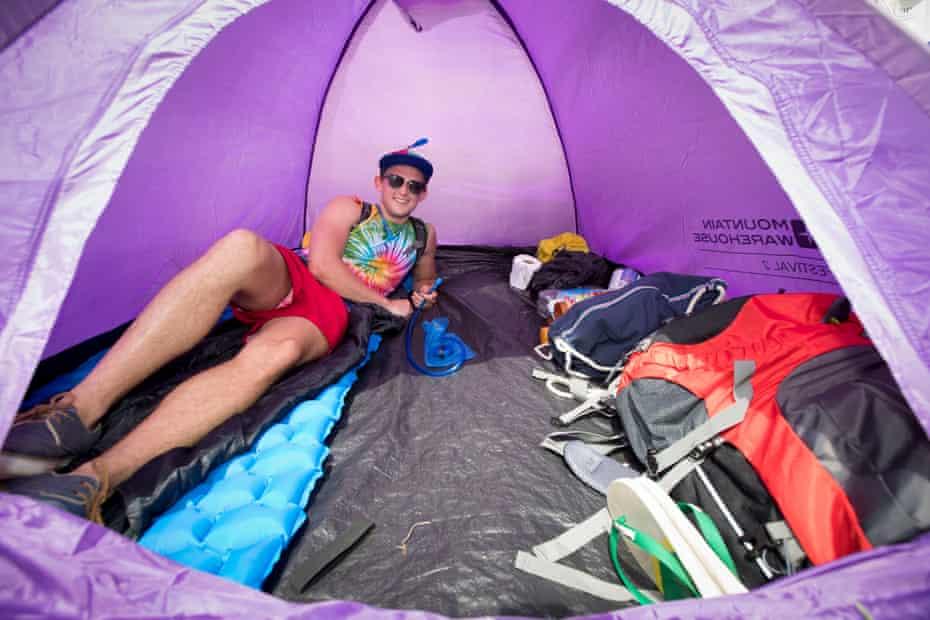 Matthew Thorrington Smith inside his tent