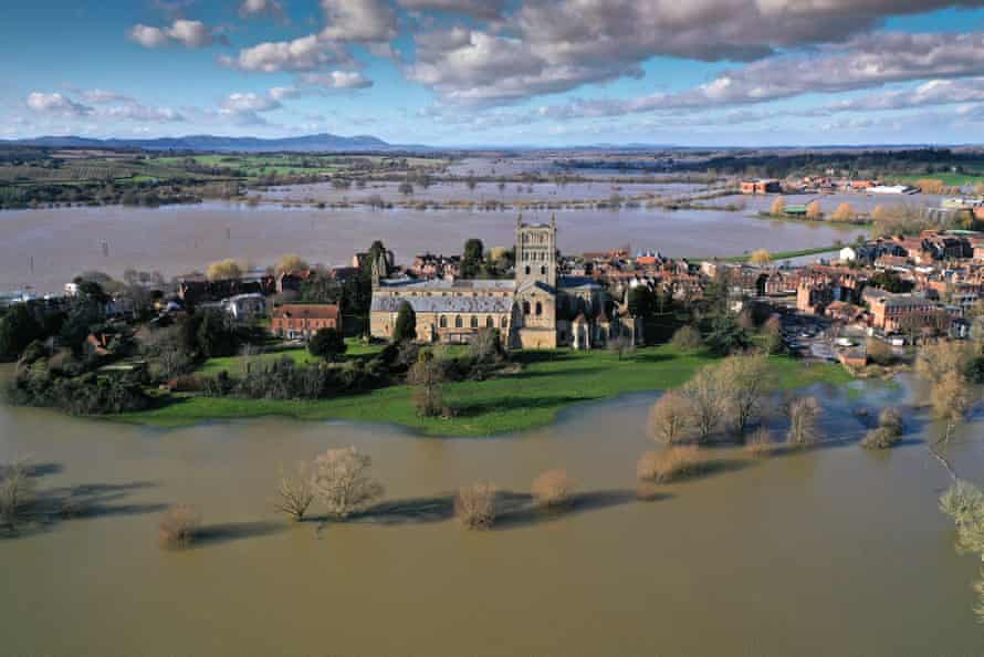 Tewkesbury Abbey in Gloucestershire surrounded by floodwater in February this year.