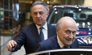 Vitaly Mutko, the deputy prime minister of Russia and former Fifa president, Sepp Blatter.