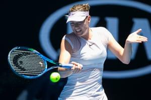 Maria Sharapova against Anastasija Sevastova on day two.
