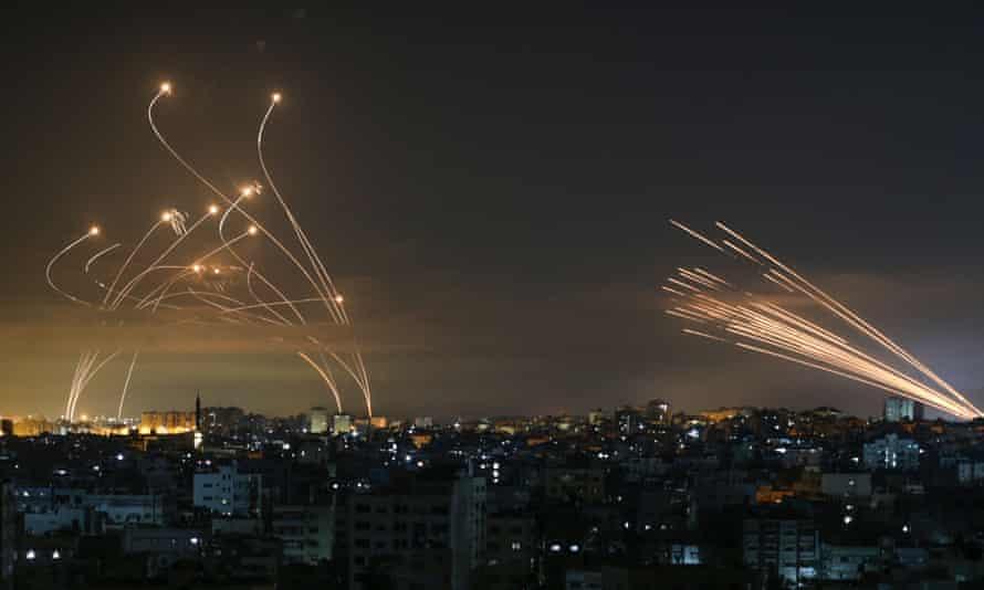Rocket fire in dark sky
