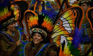 The Unidos do Peruche samba school perform during the first night of this year's carnival season in Sao Paulo.
