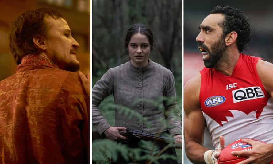 (L-R) Damon Herriman in Judy and Punch, Aisling Franciosi in The Nightingale, and Adam Goodes in documentary The Final Quarter.
