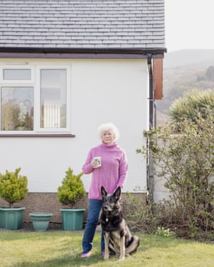 Bev Wilkins and her dog, Lottie, in Fairbourne, north Wales
