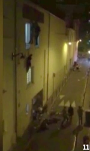 People climbing out of windows