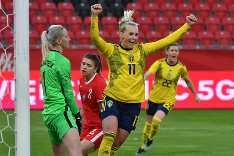 Sweden's Stina Blackstenius celebrates after scoring against Poland.