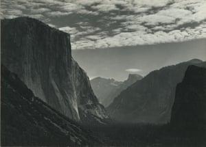 Yosemite Valley, High Clouds, from Tunnel Esplanade, circa 1940, by Ansel Adams