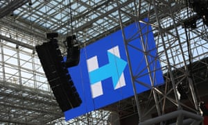 Workers prepare the Jacob K. Javits Center for Hillary Clinton's election night party.
