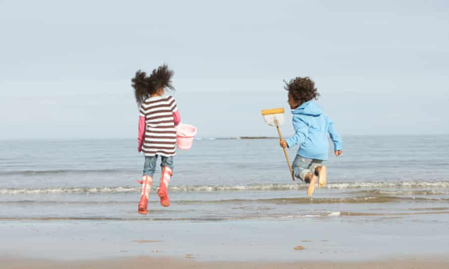 Children Playing By Sea Winter