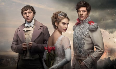 Bosoms heaving, sabres flashing ... Pierre Bezukhov (Paul Dano), Natasha Rostov (Lily James) and Prince Andrei (James Norton) in War and Peace.