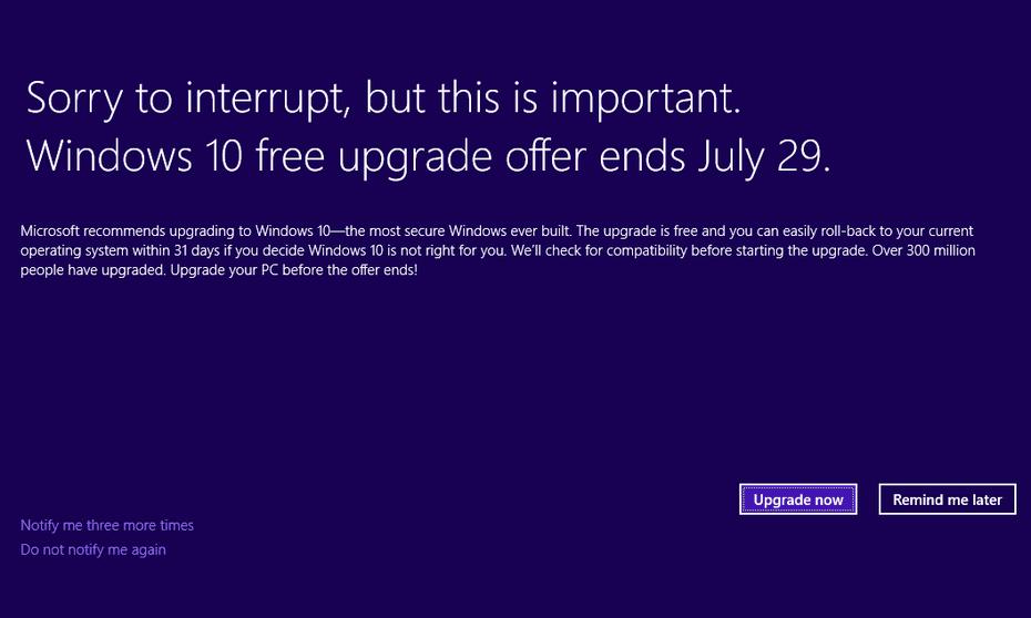 Full screen Microsoft Windows 10 upgrade notification for Windows 7 and Windows 8.1