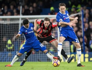 Chelsea's Pedro, left, and Nemanja Matic combine to thwart Bournemouth's Dan Gosling during Chelsea's 3-0 win in which Pedro scored the first and third goals with Eden Hazard also notching from the spot