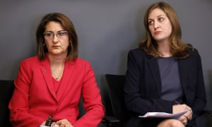 Planned Parenthood of the Heartland CEO Suzanna de Baca and ACLU of Iowa legal director Rita Bettis announce a lawsuit against Iowa's restrictive abortion law.