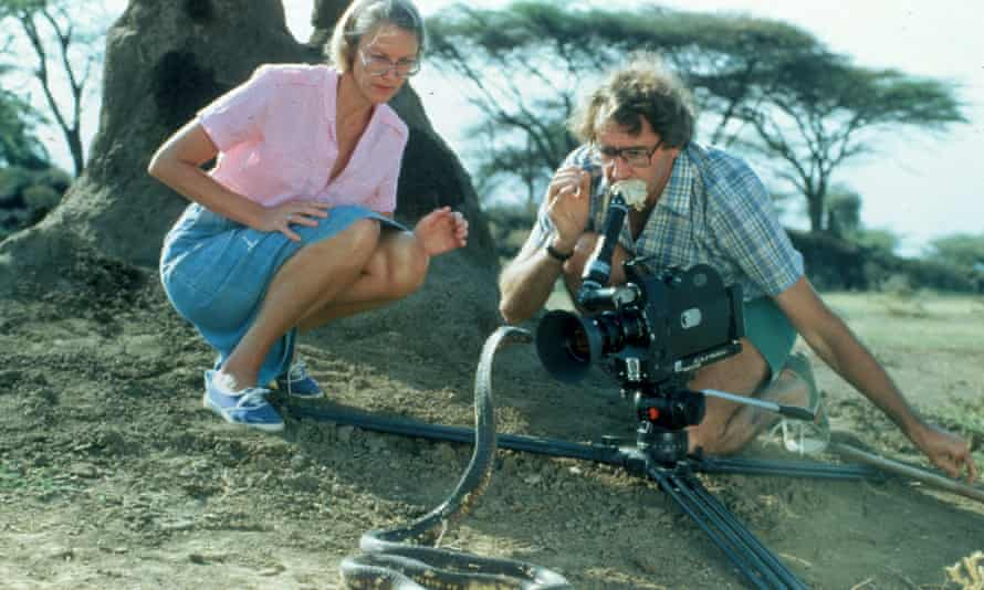 Alan and Joan Root filming for the ITV series Survival.