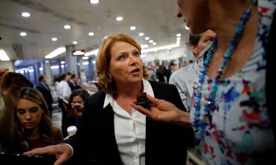 Senator Heidi Heitkamp of North Dakota. The supreme court allowed the state to keep a voter ID law in place that will likely bar thousands of Native Americans from voting in November.