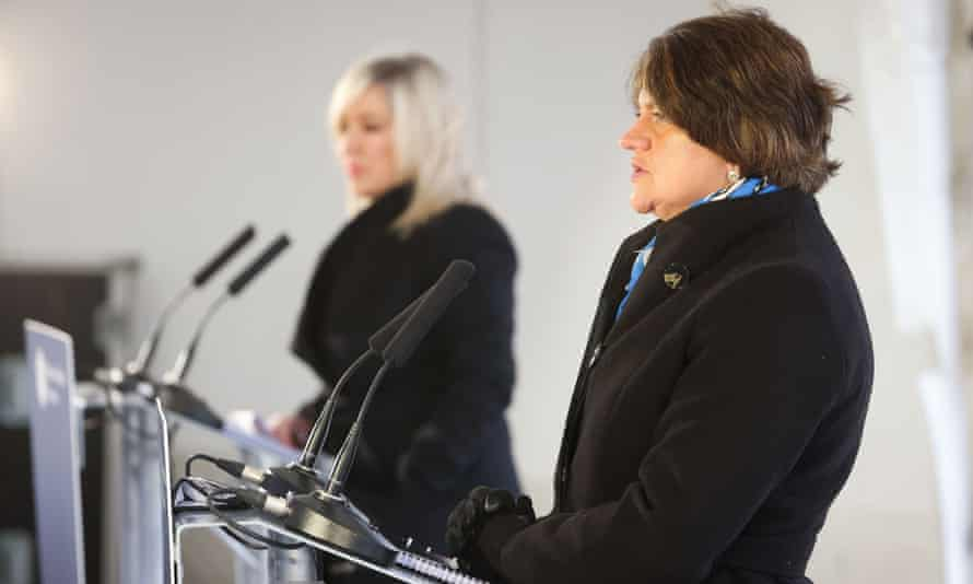 Deputy first minister Michelle O'Neill and first minister Arlene Foster at a media briefing in Dungannon, County Tyrone, 4 March 2021