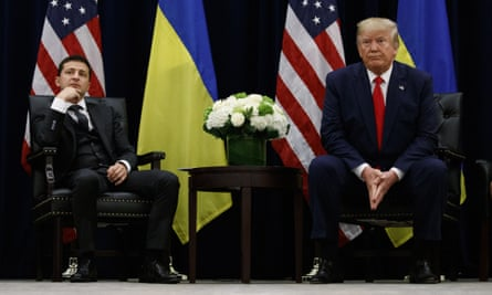 Donald Trump meets with Ukrainian President Volodymyr Zelenskiy during the UN general assembly on Wednesday.