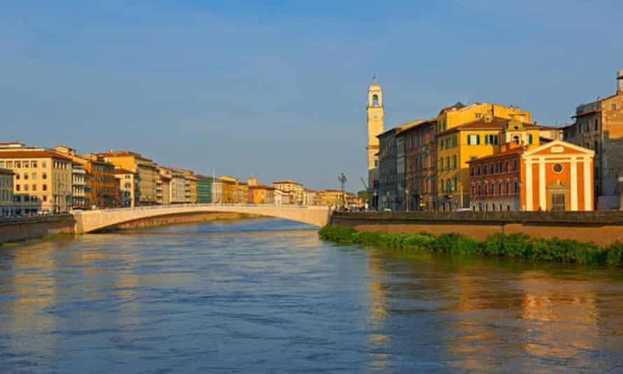 Pisa, Lungarno, Arno River, UNESCO world heritage site, Tuscany, Italy.