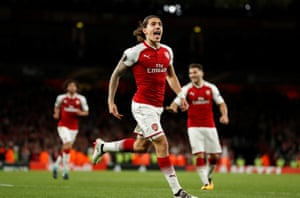 Arsenal's Hector Bellerin celebrates scoring their third goal.