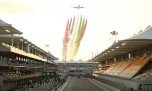 A flypast over the grid of the Yas Marina Circuit before the race