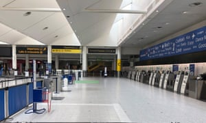 Empty check-in desks at Gatwick on 2 June.