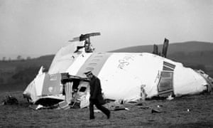 The wrecked nose section of the Pan Am flight 103 in a field at Lockerbie.
