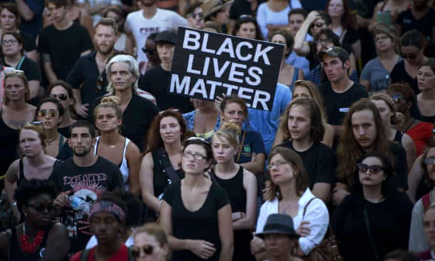 People gather at the Confederate Museum during a protest in Charleston, South Carolina on 20 June.