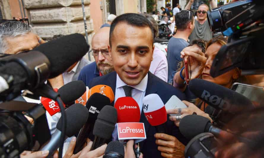 The M5S leader, Luigi Di Maio, speaks to the media
