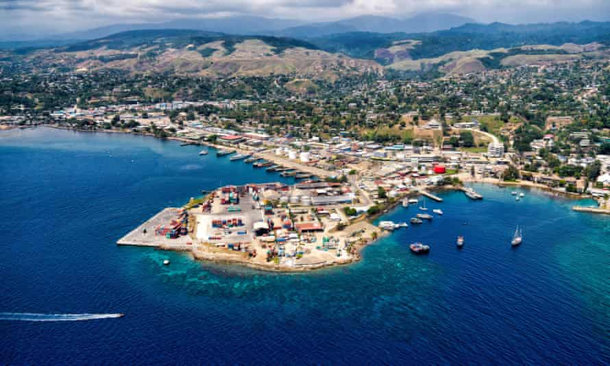 Aerial view of a fishing village in Honiara, Solomon Islands.