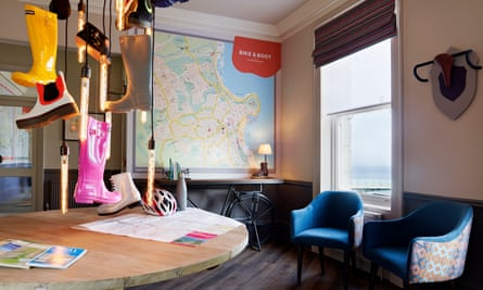 Reception area at the Bike and Boot hotel in Scarborough, UK.