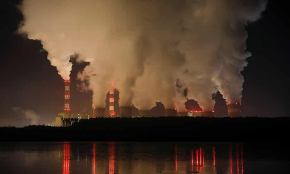 Smoke and steam billow from Bełchatów power station in Poland, Europe's largest coal-fired plant.