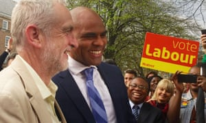 Jeremy Corbyn raced to celebrates with Marvin Rees after his election as the mayor of Bristol.