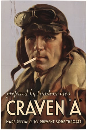 A 1920s ad for Craven A cigarettes claims they don't cause sore throats.