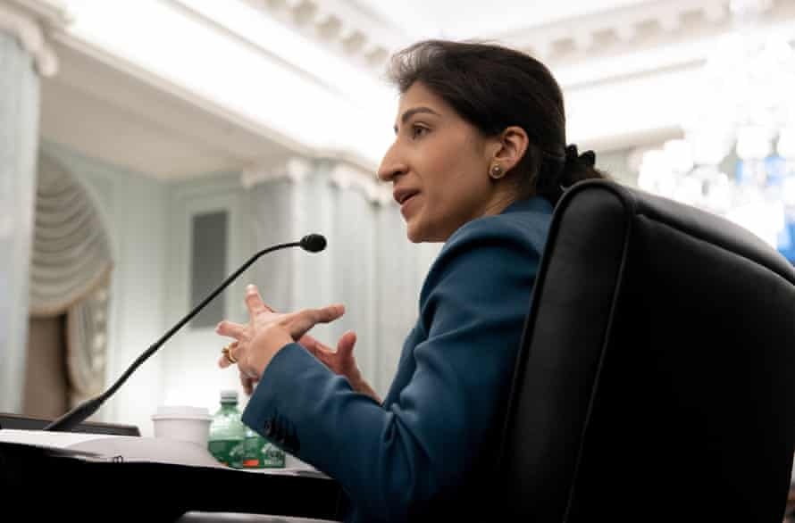 Lina Khan testifies during a Senate committee hearing on 21 April.
