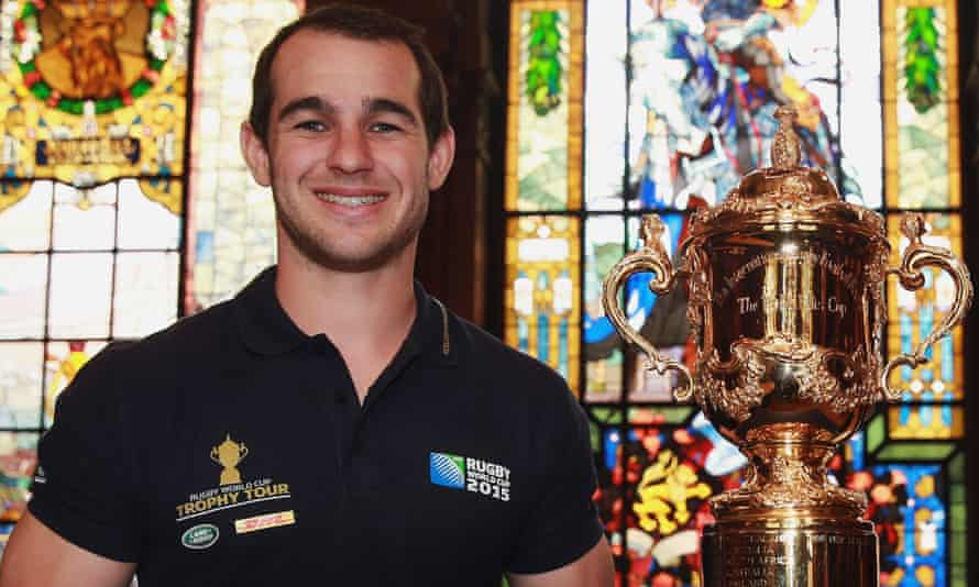 Sean Armstrong got his hands on the Webb Ellis Cup at Heidelberg city hall as part of Rugby World Cup trophy tour in April.