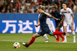 Eugenie Le Sommer slams home from the penalty spot for France's second goal .