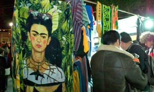Frida Kahlo fabric being sold in an evening market in Coyoacán.