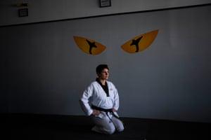 Busuttil alone in her taekwondo studio.