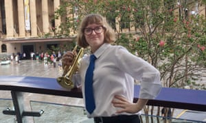 Amelia Paxman, holding a cornet, during the 2019 Yamaha Australian National Brass Band Championships.