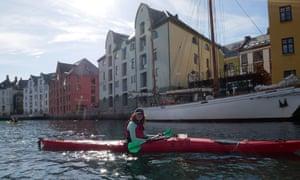 Maddy paddling in Ålesund harbour, Norway