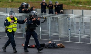 Security services during a simulation of a terrorist attack Euro 2016 football tournament in Lyonnais, France